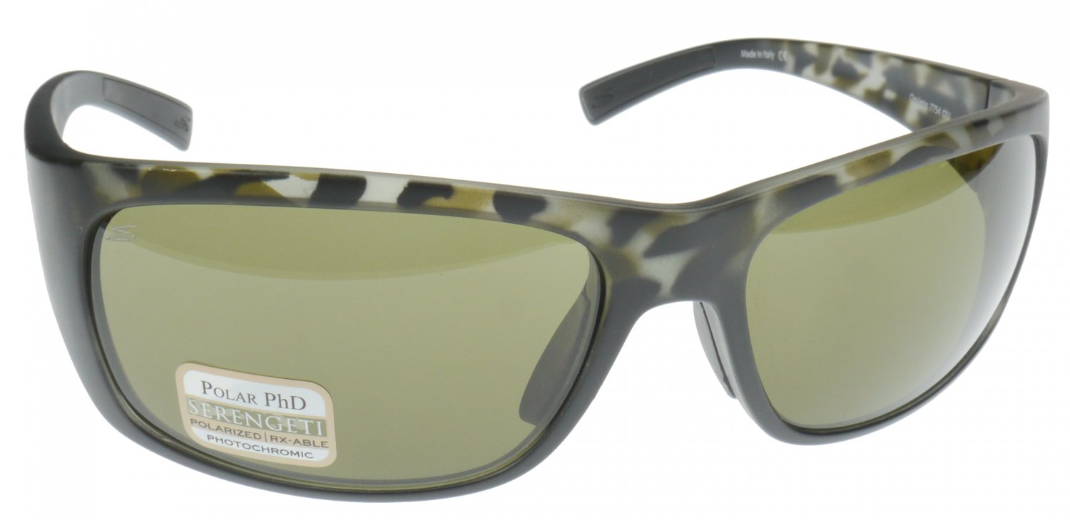 Serengeti Orvieto Sunglass, Lightweight Frame in Black, Polarized Photochromic Polar PhD 555nm Lens