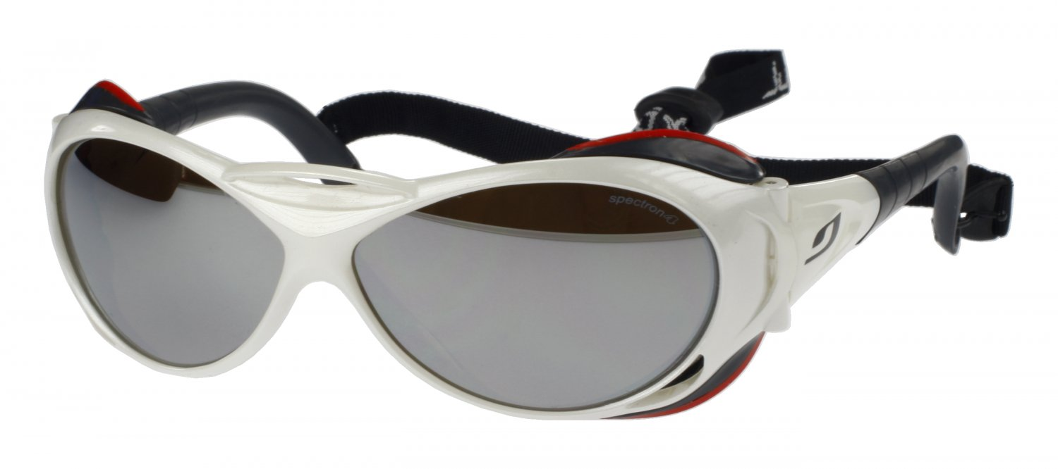 Julbo Explorer Heavy Duty Sunglasses, White, Polycarb Mirror+A/R Coated Category 4 Lens - Large Fit