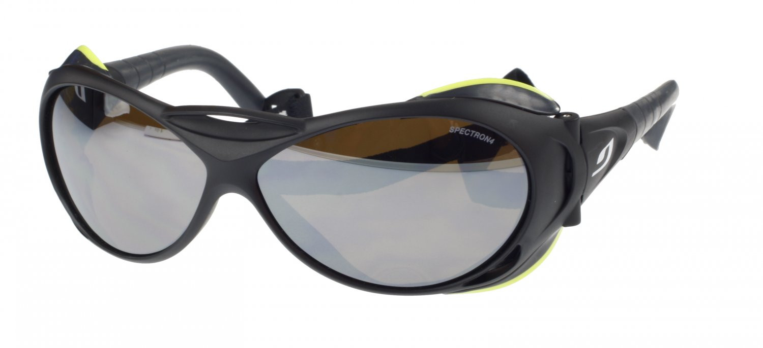 Julbo Explorer Heavy Duty Sunglasses, Black, Polycarb Mirror+A/R Coated Category 4 Lens - Large Fit