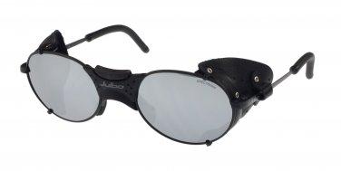 Julbo Drus Sunglass, Matt Black, Leather Shields, Mirror + A/R coated Polycarb Lenses - Rx Ready