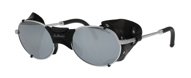 Julbo Drus Sunglass, Matt Silver, Leather Shields, Mirror + MAR Spectron Cat. 4  Polycarb Lens
