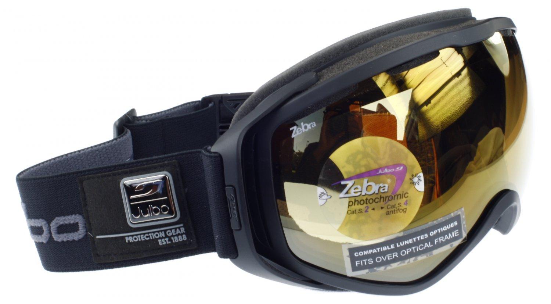 Julbo Titan Ski Goggle OTG Fits Over EyeGlasses Matt Black, Zebra Photochromic Spherical Double Lens