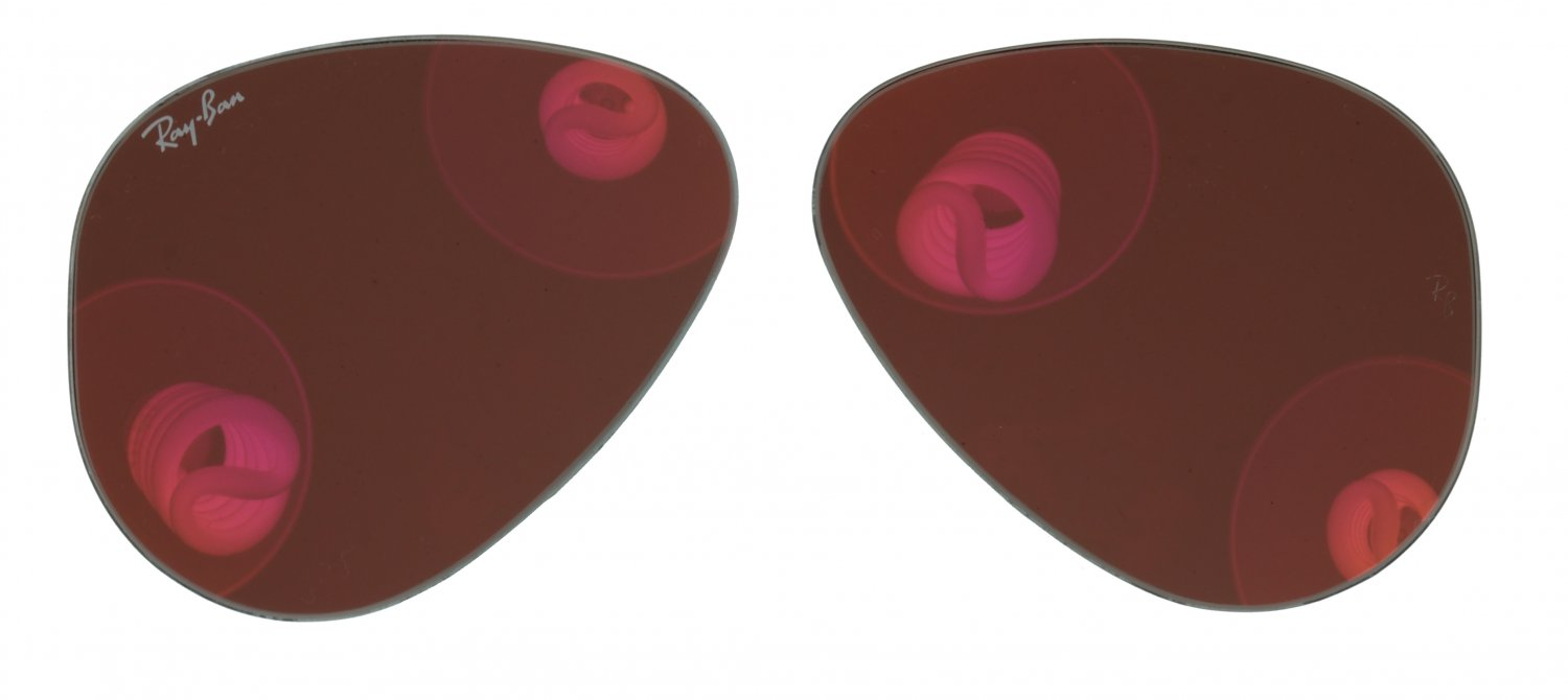 Original Replacement Brown/Red Mirror Lens For Ray Ban 3025 Aviator Sunglass 55mm Lens Size (Small)