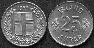 Iceland 25 aurar, from 1959. Lot of 5 pcs.