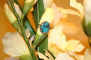 Oval Bluish Green Turquise Ring Traditional Native American Jewerly Setting Sterling Silver New
