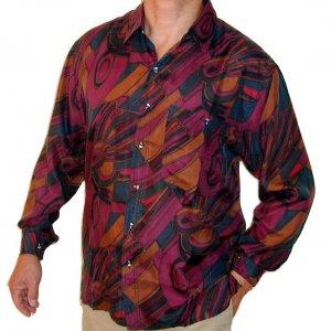 Men's Printed 100% Silk Shirt (Small, Item# 108)