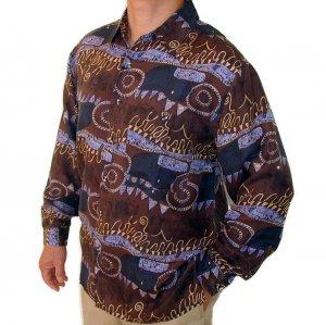 Men's Printed 100% Silk Shirt (Small, Item# 107)