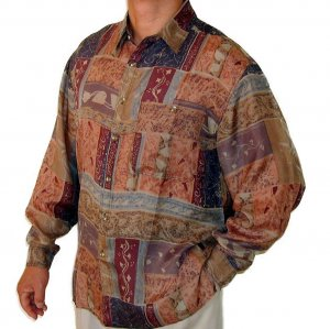 Men's Printed 100% Silk Shirt (Small, Item# 104)