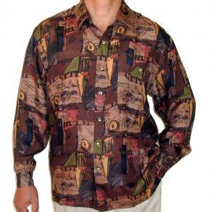 Men's Printed 100% Silk Shirt (Small, Item# 102)