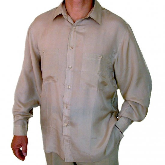 Men's Beige 100% Silk Shirt (Small, Item# 207)