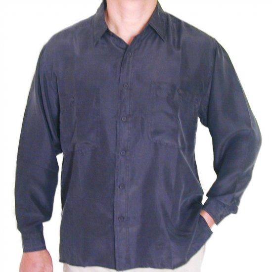 Men's Black 100% Silk Shirt (Small, Item# 203)
