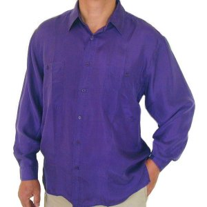 Men's Purple 100% Silk Shirt (Small, Item# 201)