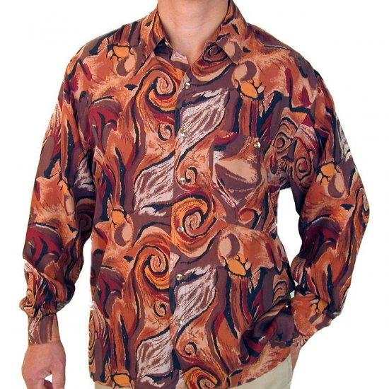 Men's Printed 100% Silk Shirt (Extra Large, Item# 106)
