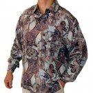 Men's Printed 100% Silk Shirt (Extra Large, Item# 105)