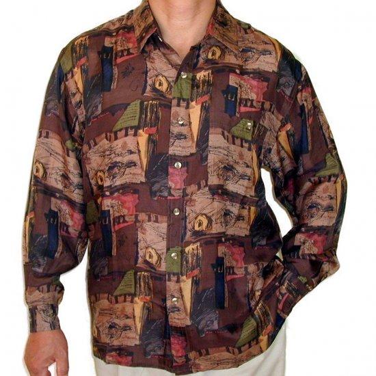 Men's Printed 100% Silk Shirt (Extra Large, Item# 102)