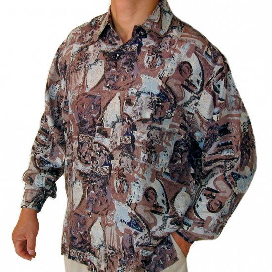 Men's Printed 100% Silk Shirt (Large, Item# 105)