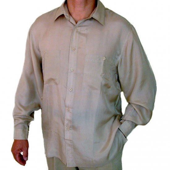 Men's Beige 100% Silk Shirt (Large, Item# 207)