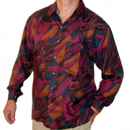 Men's Printed 100% Silk Shirt (Medium, Item# 108)