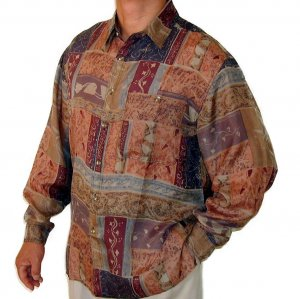 Men's Printed 100% Silk Shirt (Medium, Item# 104)