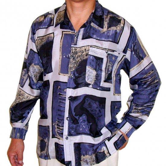 Men's Printed 100% Silk Shirt (Medium, Item# 101)