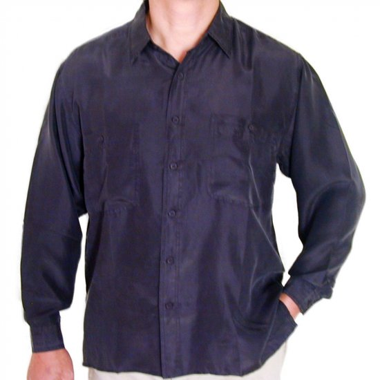 Men's Black 100% Silk Shirt (Medium, Item# 203)
