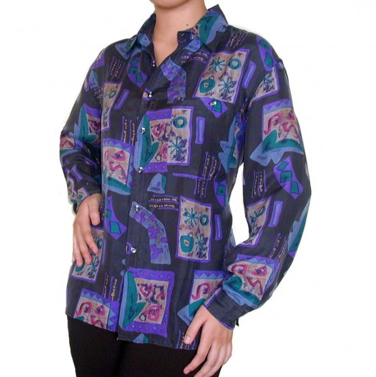 Women's Pattern 100% Silk Blouse (L, Item# 109)