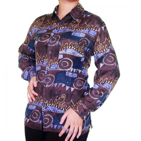 Women's Pattern 100% Silk Blouse (L, Item# 107)