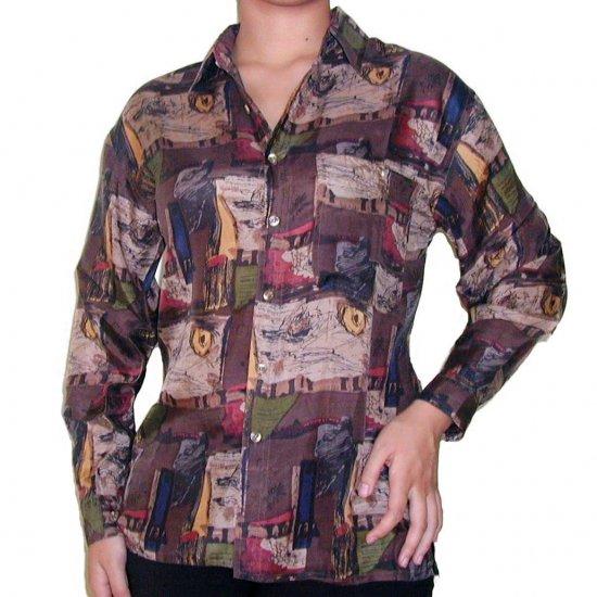 Women's Pattern 100% Silk Blouse (L, Item# 102)