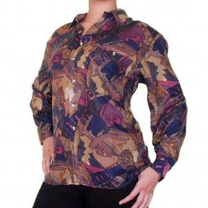 Women's Pattern 100% Silk Blouse (M, Item# 113)