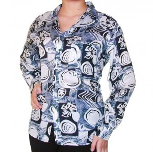 Women's Pattern 100% Silk Blouse (M, Item# 111)