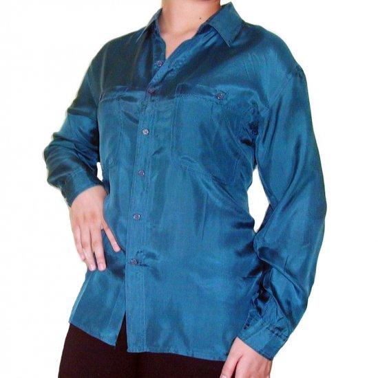 Women's Teal 100% Silk Blouse (M, Item# 210)