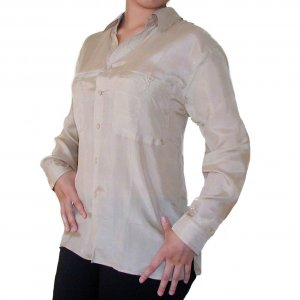 Women's Beige 100% Silk Blouse (M, Item# 207)