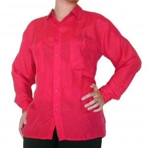 Women's Red 100% Silk Blouse (M, Item# 206)
