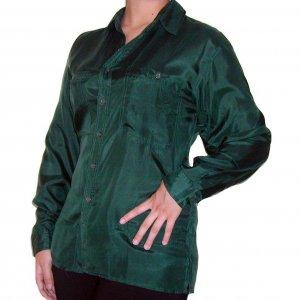Women's Green 100% Silk Blouse (M, Item# 204)