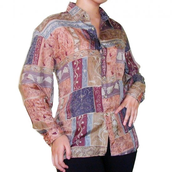 Women's Pattern 100% Silk Blouse (M, Item# 104)