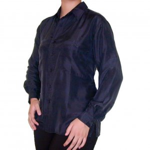 Women's Black 100% Silk Blouse (M, Item# 203)