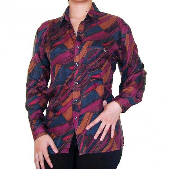 Women's Pattern 100% Silk Blouse (S, Item# 108)