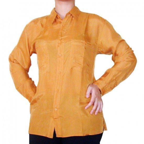 Women's Mustard 100% Silk Blouse (S, Item# 202)