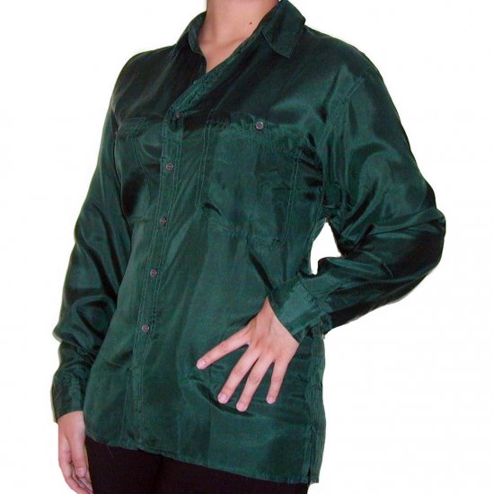 Women's Green 100% Silk Blouse (XL, Item# 204)