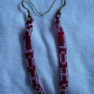 "red   seed bead earrings spell out ""Aloha"" in white letters"