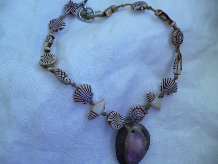 anklet made with hemp, cowrie shell and nautical themed beads