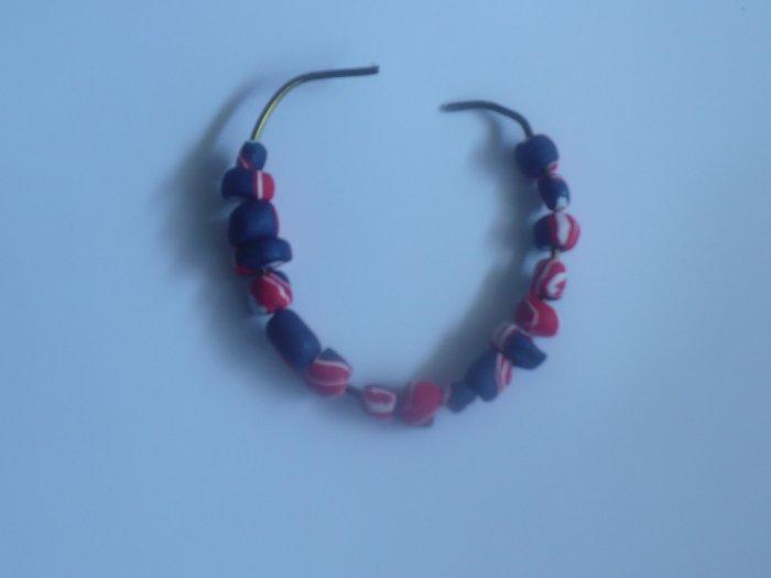 red, white ,and blue bracelet matches Barack Obama logo.necklace