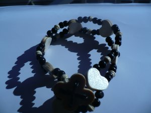 wooden anklet with heart shaped beads