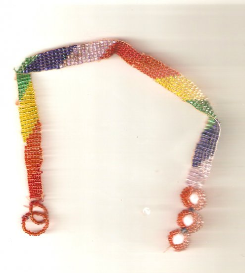 Rainbow colored choker made of seed beads.