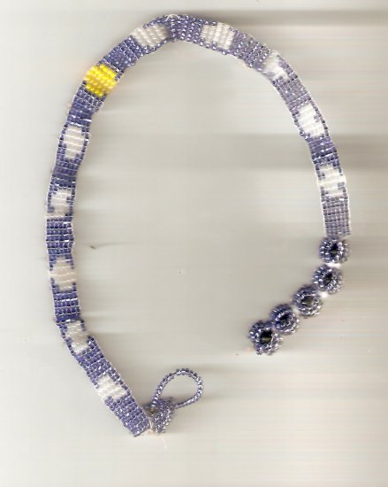 blue white and yellow beaded choker inspired by the daytime sky