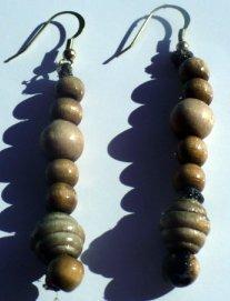 natural wooden bead earrings