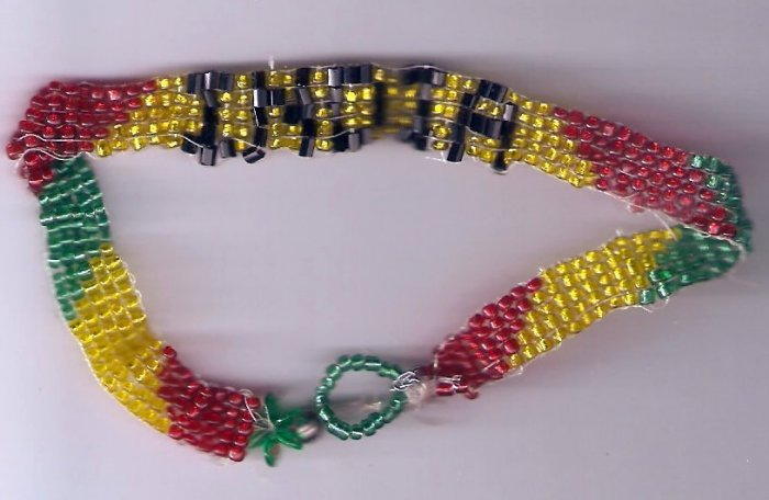 red,yellow,green and black anklet that says India