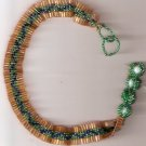 green,gold and blue beaded choker