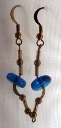 earings made with blue disk