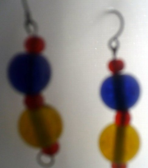 earrings made with blue yellow and orange circular beads